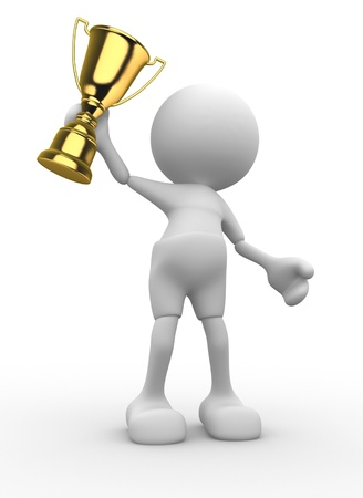 victor: 3d people - man, person and  a big golden trophy.  Mascot, cartoon.