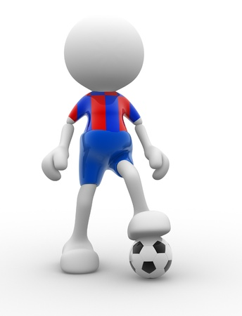 3d people - men, person and a ball. Football player. Caricature photo