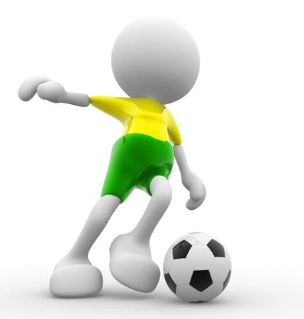caricaturas de personas: 3d personas - hombres, persona y una bola. Jugador de f�tbol. Caricatura