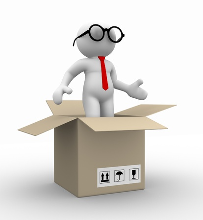 3d people - man , person in a box. Businessman photo