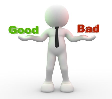 3d people -  man, person presents good and bad words Stock Photo