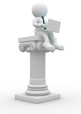 3d people - men , person with a laptop and column romanian photo