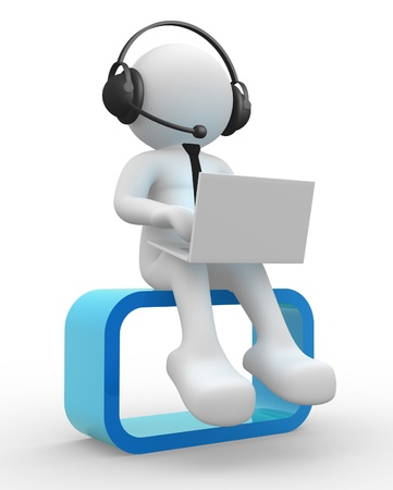 3d people - man , person with a laptop and headphone. Stock Photo - 14814965