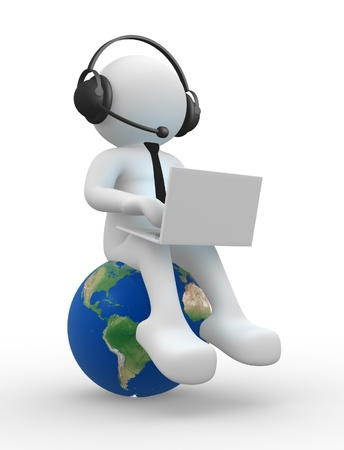 callcenter: 3d people - man , person with a laptop and headphone. Earth globe Stock Photo
