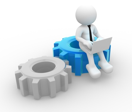 3d people - man , person with a laptop and gear mechanism Stock Photo - 14815299