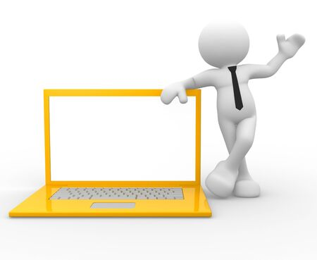 3d people - man , person with a laptop Stock Photo - 14815224