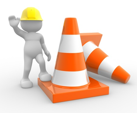 men at work sign: 3d people - man, person and traffic cones. Stock Photo