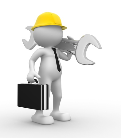 power wrench: 3d people - man, person with a wrench. Businessman and builder Stock Photo