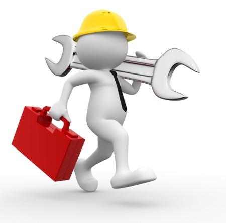 mantenimiento: 3d gente - hombre, persona con caja de herramientas y llave inglesa. Ingeniero