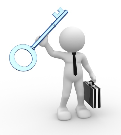 3d people - man, person with a key. Concept of success