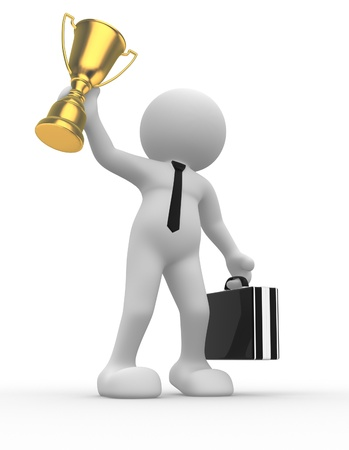3d people - man, person and  a big golden trophy.  Businessman photo