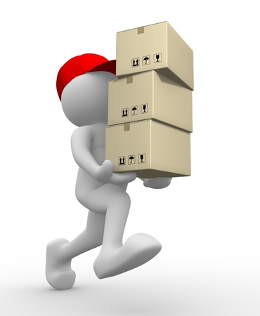 paper delivery person: 3d people - man, person with  carton box ( packages) . Postman  Stock Photo