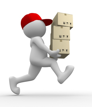 postman: 3d people - man, person with  carton box ( packages) . Postman  Stock Photo