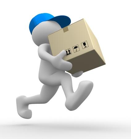 facteur: 3d personnes - homme, personne avec une bo�te en carton (emballages). Facteur Banque d'images