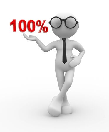 3d people - man, person with percent. 100%  photo