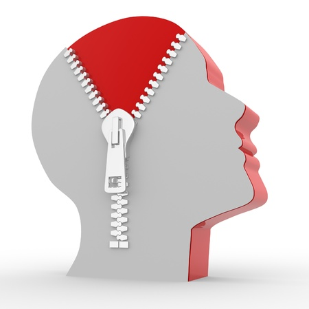 head down: 3d human head and o open zipper. Concept of intelligence