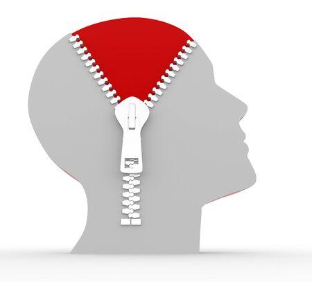 zipper: 3d human head and o open zipper. Concept of intelligence