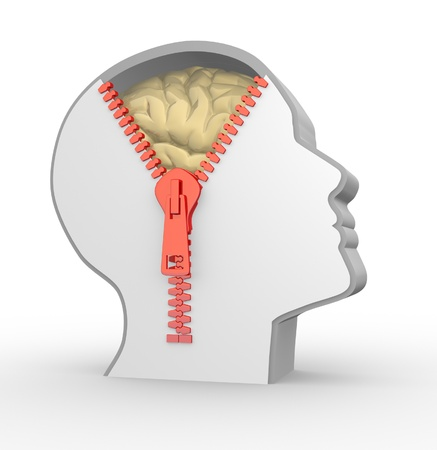 3d human head and o open zipper. Concept of intelligence Stock Photo - 14815220