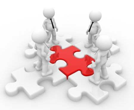 leaders: 3d people - man, person and a pieces of puzzle ( jigsaw) .  Partnership or leadership