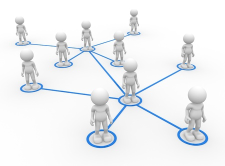 blue network: 3d people - men, person arranged in a network