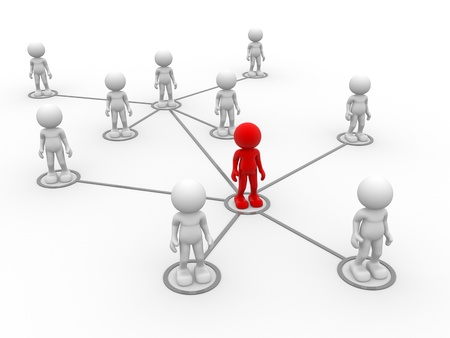 arranged: 3d people- men, person arranged in a network Stock Photo