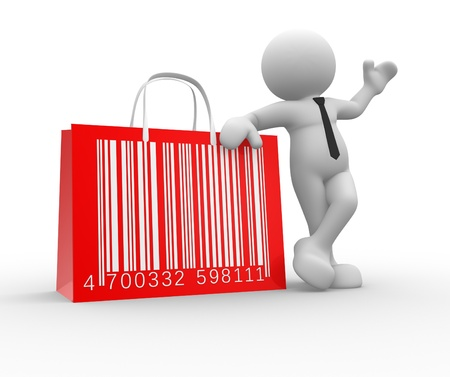 3d people - man, person with shopping bag and barcode ( bar code ).  photo