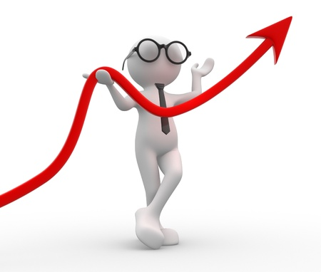 3d people - men, person and a arrow. Diagram of success. Stock Photo - 14815062