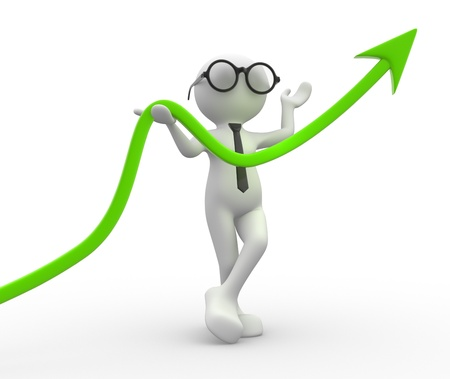 3d people - men, person and a arrow. Diagram of success. Stock Photo - 14815045
