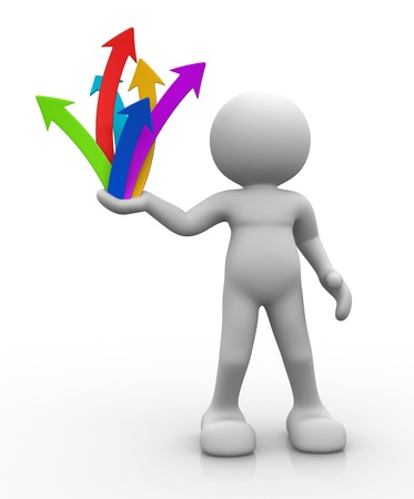 3d people - man, person and arrows up grouped . Business success concept. Stock Photo - 14815038