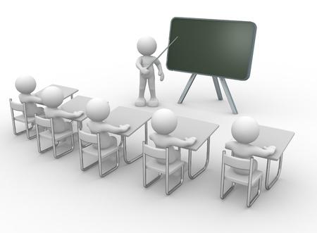 training: 3d mensen - mannen, persoon met wijzer in hand dicht bij blackboard. Concept van het onderwijs en leren. Stockfoto