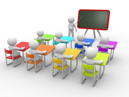 classroom training: 3d people - men , person with pointer in hand close to blackboard. Concept of education and learning. Stock Photo