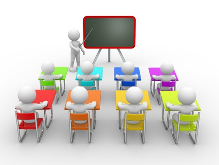 3d puppet: 3d people - men , person with pointer in hand close to blackboard. Concept of education and learning. Stock Photo