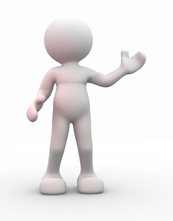 3d people - men, person presenting - pointing photo