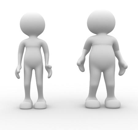 regimen: 3d people - men, person. Fat and weak. Concept of diet