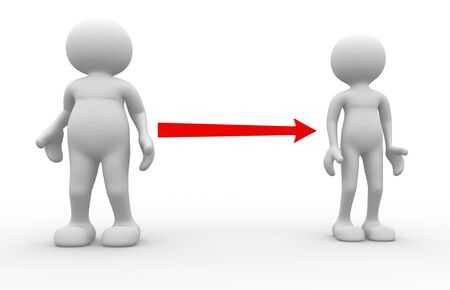 diet cartoon: 3d people - men, person. Fat and weak. Concept of diet