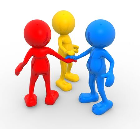 3d people - men, person. Three friends different. The concept of friendship Stock Photo - 14815576