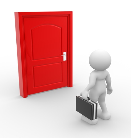 3d people - man, person and a door . Businessman  photo