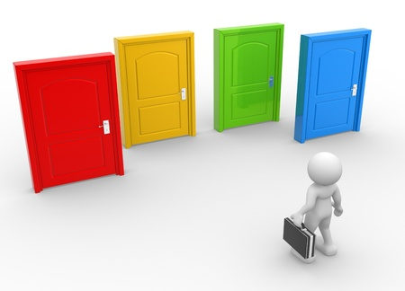 career choices: 3d people - man, person and  doors different . Businessman