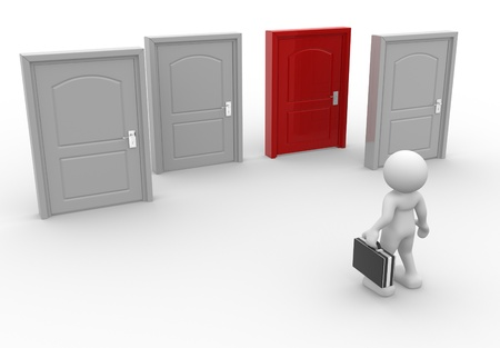 different idea think different: 3d people - man, person and  doors different . Businessman
