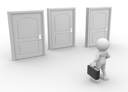 puppet woman: 3d people - human character, person with briefcase in front of three closed doors.  Stock Photo