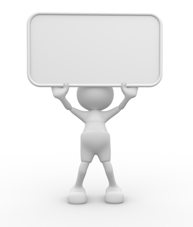 3d people - man, person with a blank board photo