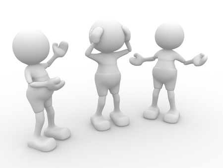 3d Menschen - Männer, Person sprechen Conversation