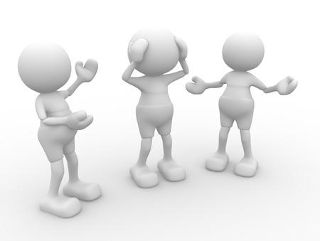 3d personnes - hommes, Conversation personne qui parle Banque d'images