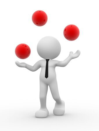 3d people - man, person and a spheres in equilibrium  Jugglery Stock Photo - 14868189