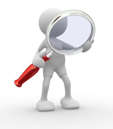 reading glass: 3d people -man,  person  with a magnifying glass  Search Concept  Stock Photo