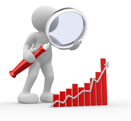 3d people - man, person with a graph financial and a magnifier  Concept of search Stock Photo - 14868568