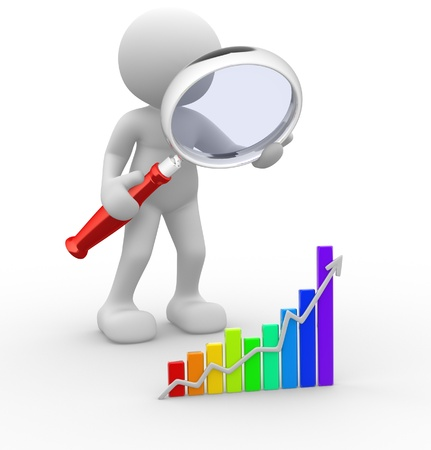 3d people - man, person with a graph financial and a magnifier  Concept of search Stock Photo
