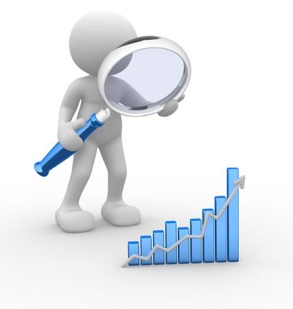 Persone 3d - uomo, persona con un grafico finanziario e un concetto di lente d'ingrandimento ricerca