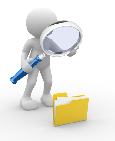 3d people - man, person with a folder and a magnifying glass  Search concept photo