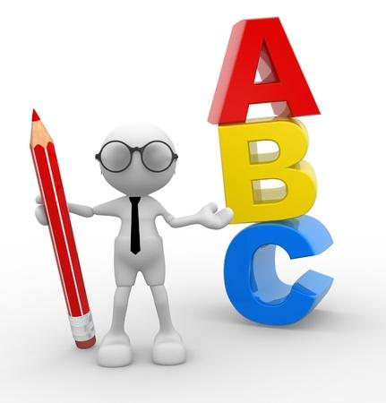 soumis: Personnes-man 3d, personne avec un crayon et ABC